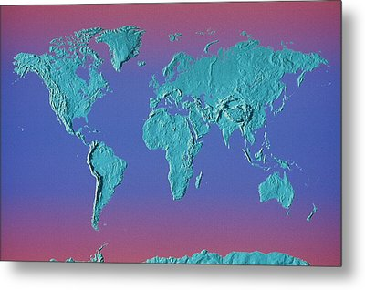 World Land Mass Map Metal Print by Vladimir Pcholkin