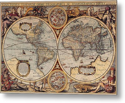 World Map 1636 Metal Print by Photo Researchers