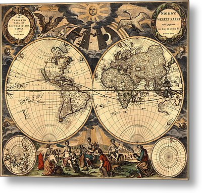 World Map 1666 Metal Print by Andrew Fare