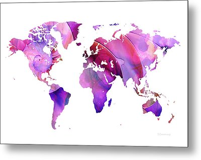 World Map 20 Pink And Purple By Sharon Cummings Metal Print by Sharon Cummings