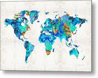 World Map 22 Art By Sharon Cummings Metal Print by Sharon Cummings