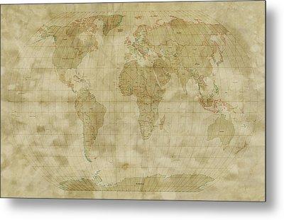 World Map Antique Style Metal Print by Michael Tompsett