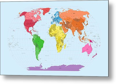 World Map Continents Metal Print by Michael Tompsett
