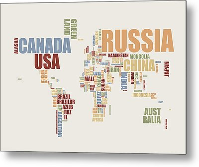 World Map In Words 2 Metal Print by Michael Tompsett