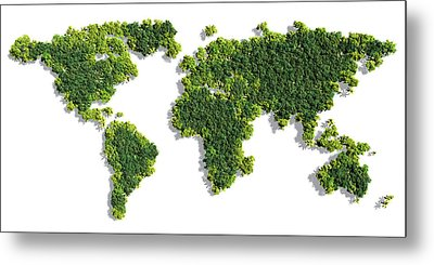 World Map Made Of Green Trees Metal Print by Johan Swanepoel