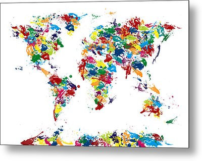 World Map Paint Drops Metal Print by Michael Tompsett