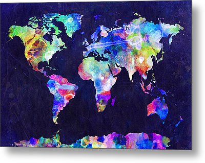 World Map Urban Watercolor Metal Print by Michael Tompsett