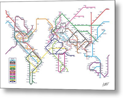 World Metro Tube Subway Map Metal Print by Michael Tompsett