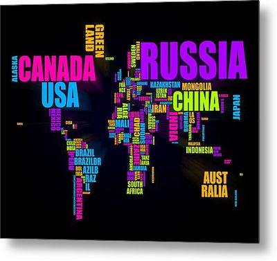 World Text Map 16x20 Metal Print by Michael Tompsett