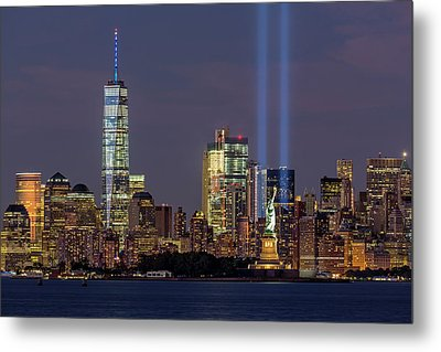 World Trade Center Wtc Tribute In Light Memorial Metal Print by Susan Candelario