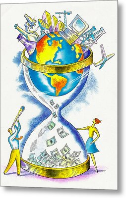 Worldwide Investing And Profit Metal Print by Leon Zernitsky