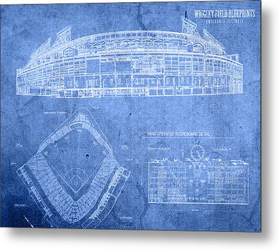Wrigley Field Chicago Illinois Baseball Stadium Blueprints Metal Print by Design Turnpike