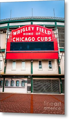 Wrigley Field Sign Photo Metal Print by Paul Velgos