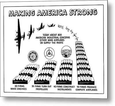 Ww2 Airplane Supply Cartoon  Metal Print by War Is Hell Store
