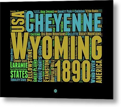 Wyoming Word Cloud Map 1 Metal Print by Naxart Studio