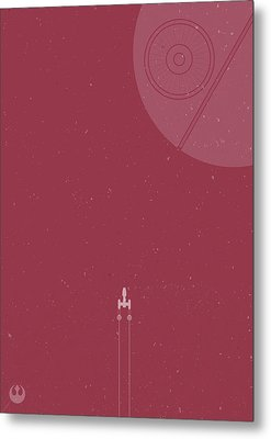 Y-wing Bomber Meets Death Star Metal Print by Samuel Whitton