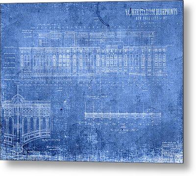 Yankee Stadium New York City Blueprints Metal Print by Design Turnpike