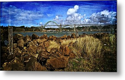 Yaquina Bay Bridge From The South Jetty Metal Print by Thom Zehrfeld