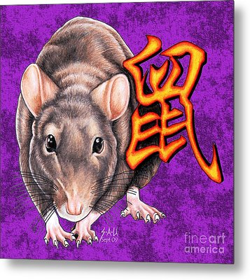 Year Of The Rat Metal Print by Sheryl Unwin