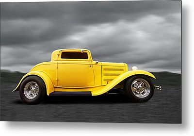 Yellow 32 Ford Deuce Coupe Metal Print by Gill Billington