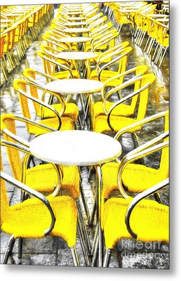 Yellow Chairs In Venice # 2 Metal Print by Mel Steinhauer