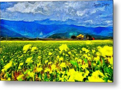 Yellow Flowers - Da Metal Print by Leonardo Digenio