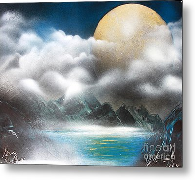 Yellow Moon Metal Print by Greg Moores