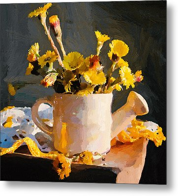 Yellow Nature Flowers Still Life Metal Print by Yury Malkov