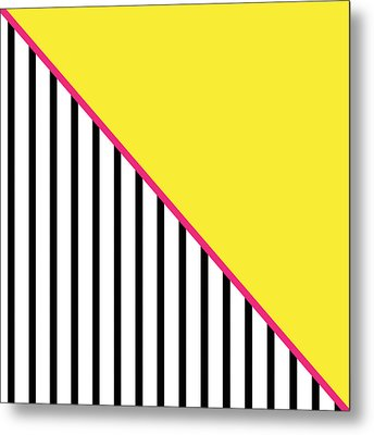 Yellow Pink And Black Geometric Metal Print by Linda Woods