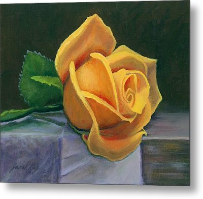 Yellow Rose Metal Print by Janet King