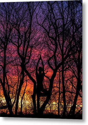 Yoga Tree Pose Sunrise One With The Trees Metal Print by Terry DeLuco