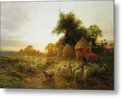 Yon Yellow Sunset Dying In The West Metal Print by Joseph Farquharson