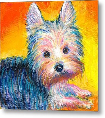 Yorkie Puppy Painting Print Metal Print by Svetlana Novikova
