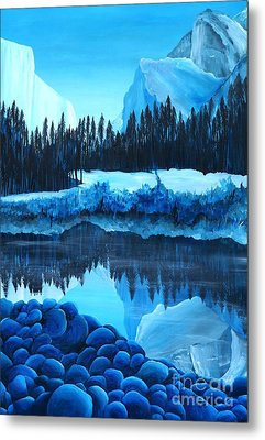 Yosemite In Blue Metal Print by Madelaine Kobe