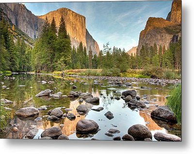 Yosemite Valley Reflected In Merced River Metal Print by Ben Neumann