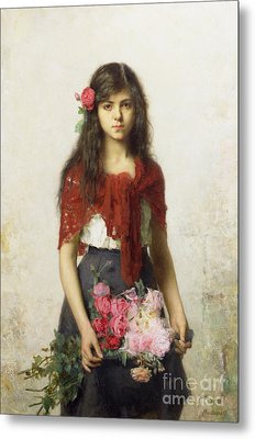 Young Girl With Blossoms Metal Print by Alexei Alexevich Harlamoff