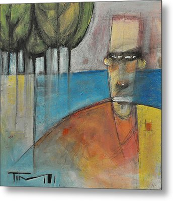 Young Man And The Sea With Trees Metal Print by Tim Nyberg