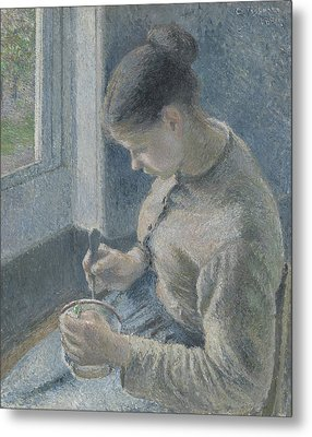 Young Peasant Having Her Coffee Metal Print by Camille Pissarro