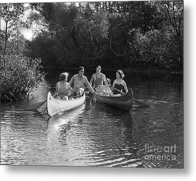 Young People Canoeing, C.1930s Metal Print by H. Armstrong Roberts/ClassicStock