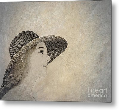 Young Woman In Hat Metal Print by Randy Steele