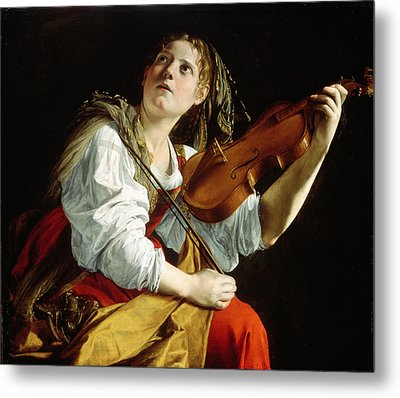 Young Woman With A Violin Metal Print by Orazio Gentileschi