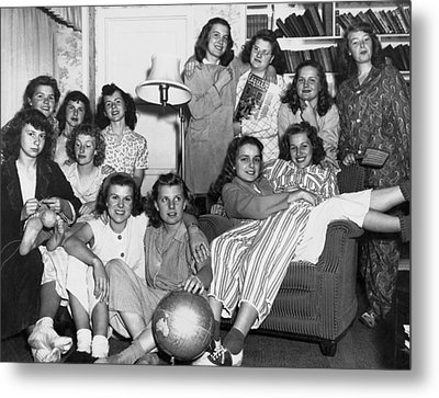 Young Women College Students Metal Print by Underwood Archives