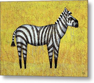 Zebra Metal Print by Kelly Jade King