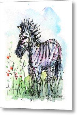Zebra Painting Watercolor Sketch Metal Print by Olga Shvartsur