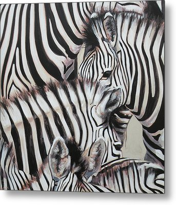 Zebra Triptyche Left Metal Print by Leigh Banks