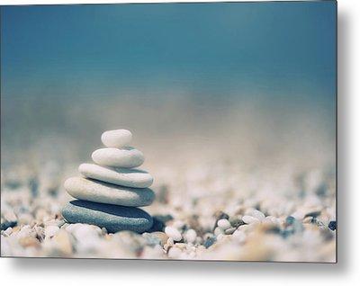 Zen Balanced Pebbles At Beach Metal Print by Alexandre Fundone