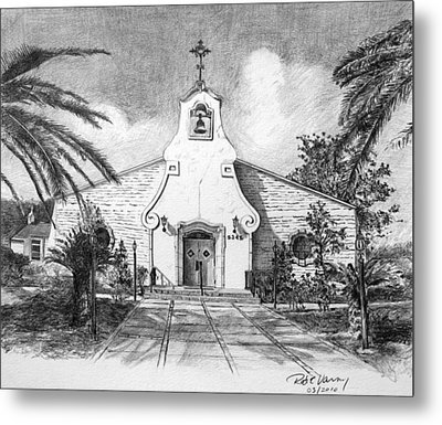 Zephyrhills Catholic Church Metal Print by Rod Varney
