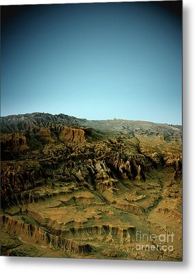 Zion National Park 3d View West-east Natural Color Metal Print by Frank Ramspott