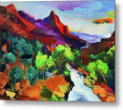 Zion - The Watchman And The Virgin River Vista Metal Print by Elise Palmigiani