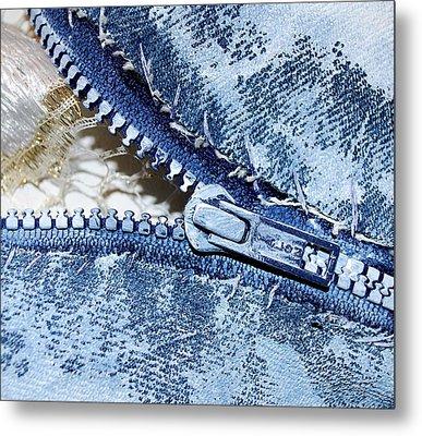 Zipper In Blue Metal Print by Nancy Mueller